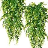 PUBAMALL Plantas Artificiales Boston Ferns Colgantes de vides Falsas, para Pared Cestas Colgantes de Interior Decoración de guirnaldas de Boda (Verde, 2 Pack)