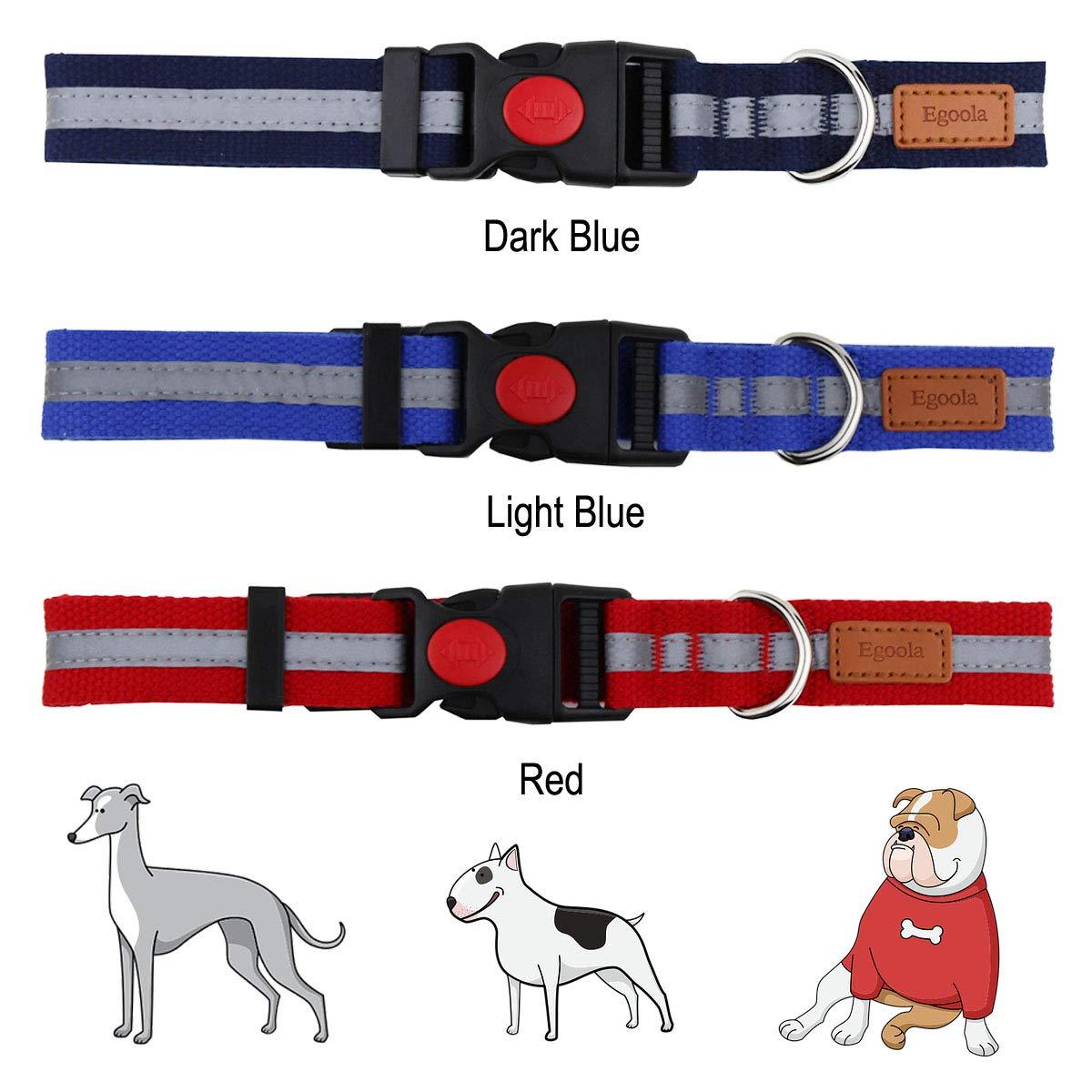 Egoola Night Reflective Dog Collar Adjustable Pet Collars with Small Medium Large Dark Blue