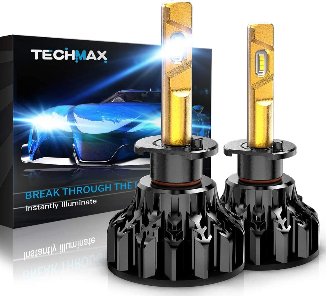 TECHMAX H1 LED Headlight Bulb,360 Degree Adjustable Beam Angle Cree Chips 12000Lm 6500K Xenon White Extremely Bright Conversion Kit of 2