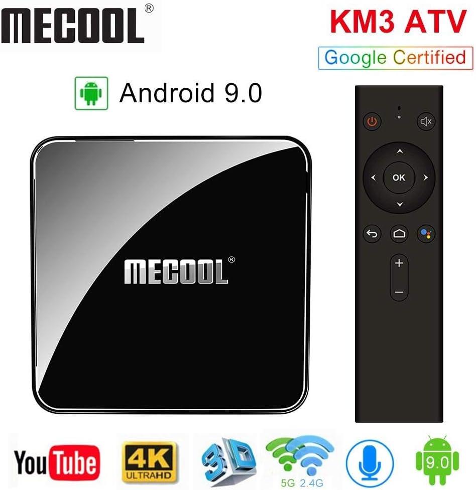 Sidiwen Mecool KM3 Android 9.0 TV Box con Control Remoto de Voz Google Certified 4GB RAM 64GB ROM Amlogic S905X2 Quad Core Dual WiFi 2.4G/5G Ethernet Bluetooth USB 3.0 Soporte 3D 4K