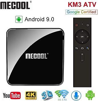 Sidiwen Mecool KM3 Android 9.0 TV Box con Control Remoto de Voz Google Certified 4GB RAM