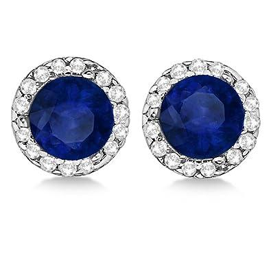 Allurez 14kt Yellow Gold Oval Blue Sapphire & Halo Diamond Stud Earrings RMexQRG