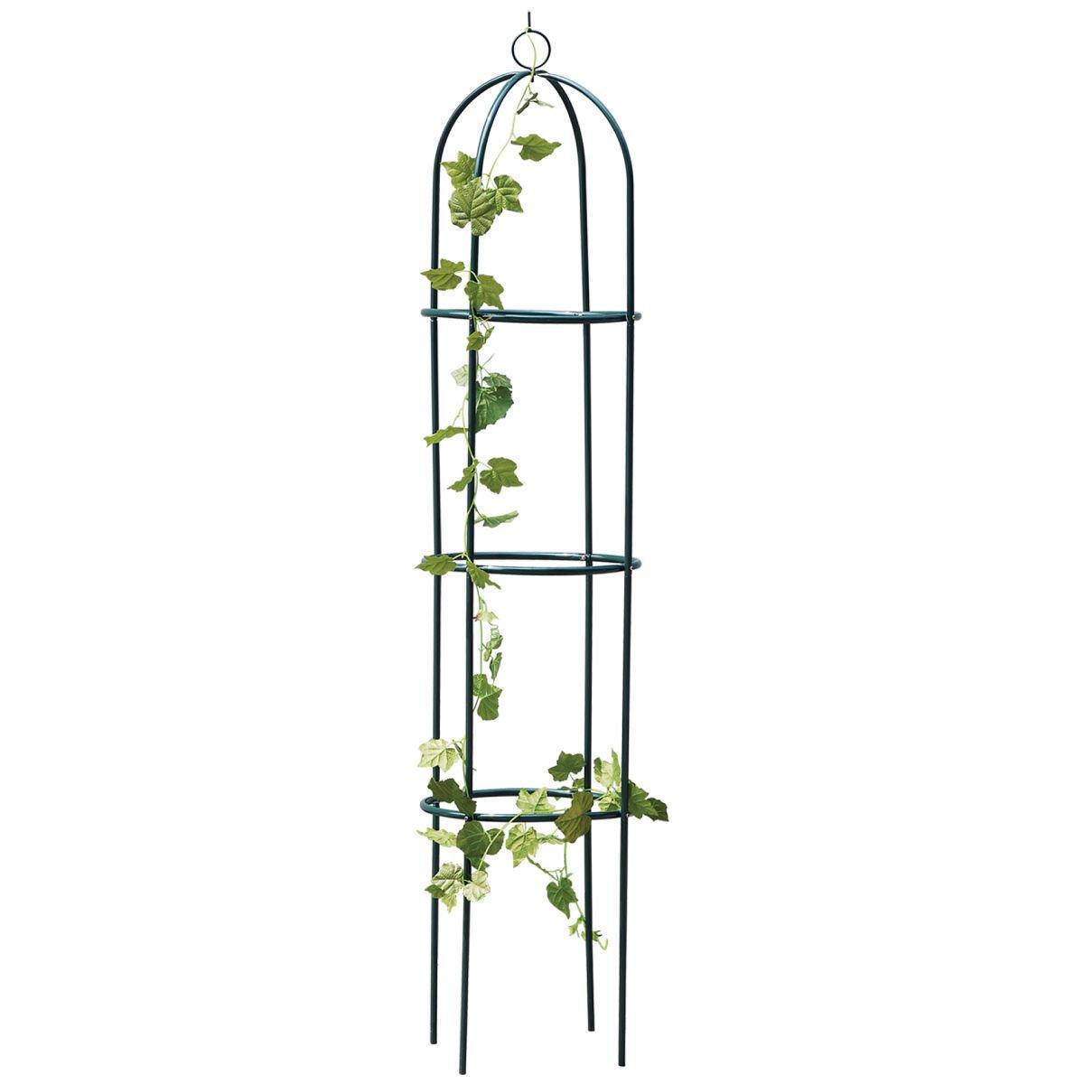 Unibos Black Metal Obelisk Climbing Plant Support Frame Ivy Trellis 1.9M