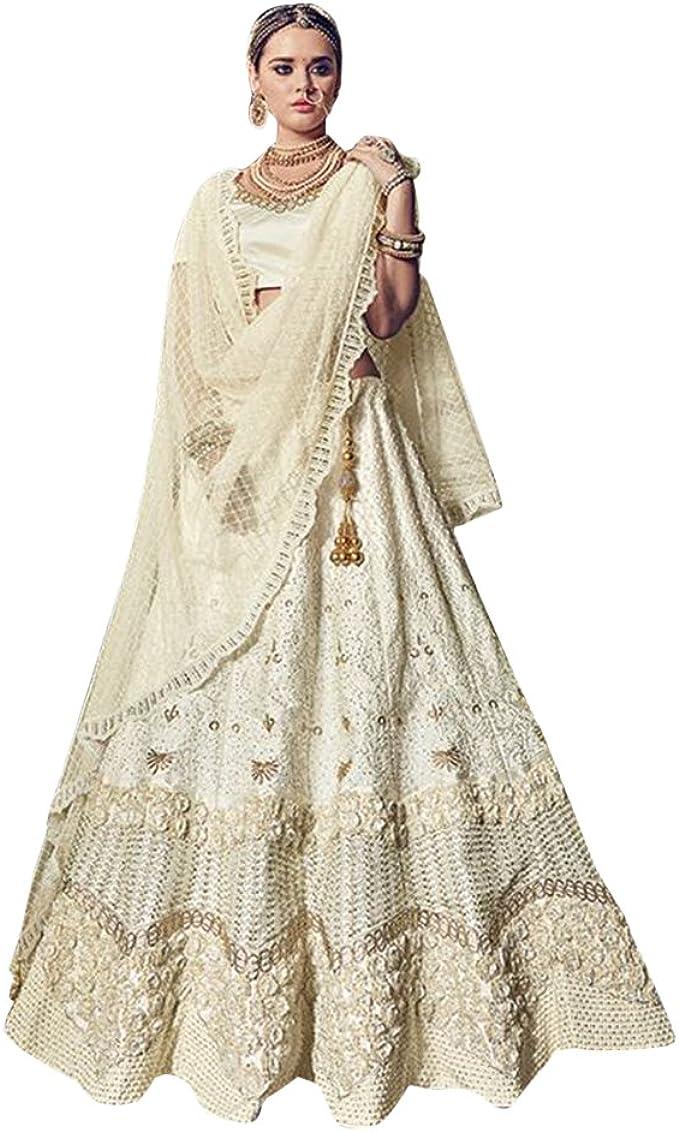 Amazon Com Wedding Wear Collection Bridal Lehenga Choli Dupatta Ceremony Muslim Zari Heavy Work 734 Clothing