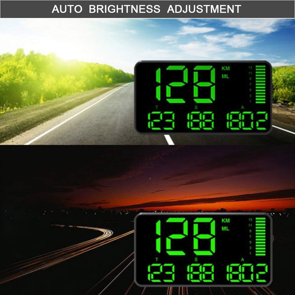 M-PENG Projecteur de kilom/étrage Grand /écran GPS Universel Voiture Compteur Vitesse Pare-Brise kilom/ètre//Heure mph avec Avertissement survitesse Jeu pour Moto