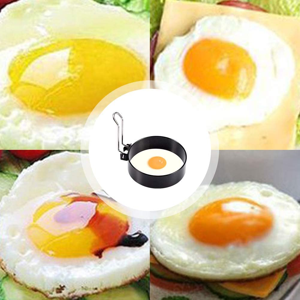 Yumi V Lot de 4 anneaux /à /œufs en acier inoxydable anti-adh/ésifs en forme de poachette pour /œufs et omelettes mini cr/êpes ronds pour /œufs frits et poch/és Crumpets