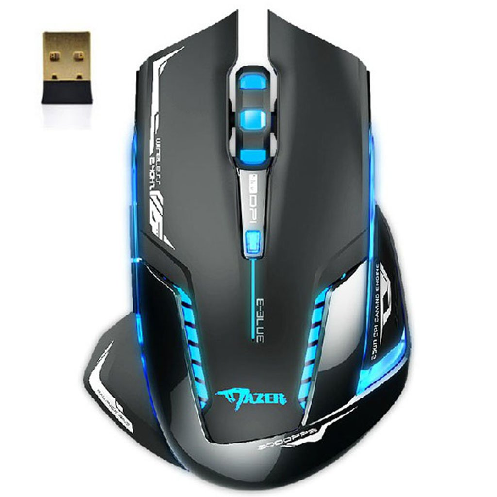 Black Friday Lary intel E-3lue 6D Mazer II 2500 DPI Blue LED 2.4GHz Wireless Optical Gaming Game Mouse