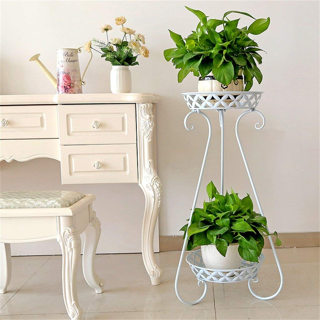 ChenDz European Wrought Iron Flower Stand Multi-Layer Floor-Standing Living Room Green Flower Stand Provincial Space Balcony Slanting Flower Pot Shelf (Color : White)