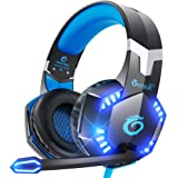 VersionTECH. G2000 Gaming Headset for PS5 PS4 PC Xbox One, Surround Sound Over Ear Headphones with Mic, LED Light for Mac Lap