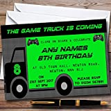 Games Truck Gaming Personalized Childrens Birthday Party Invitations