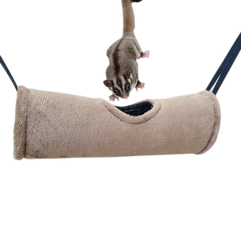 Crewell Pet Tunnel à Suspendre Cave Hamster Hamac Jouet en Peluche Durable Coursive Maison pour écureuil Furet Rat