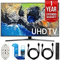 Samsung UN55MU7000 54.6 4K Ultra HD Smart LED TV (2017 Model) with 1 Year Extended Warranty + Accessories Bundle