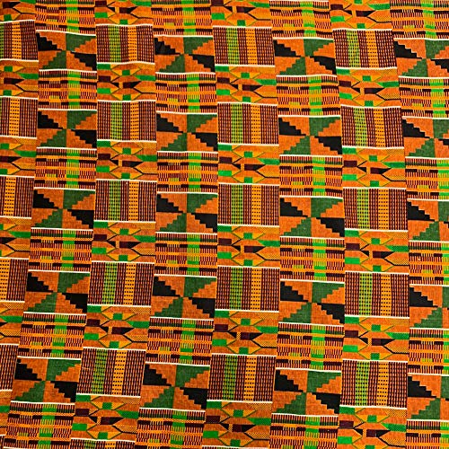 Kente African Print Fabric Cotton Print 44'' Wide Sold by The Yard (90195-1) ()