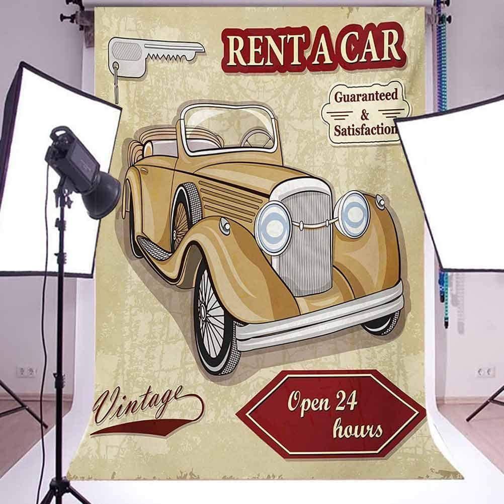 Cars 10x12 FT Backdrop Photographers,Vintage Car Rentals Commercial Illustration Print Keys Original Dated Auto Objects Design Background for Baby Shower Bridal Wedding Studio Photography Pictures