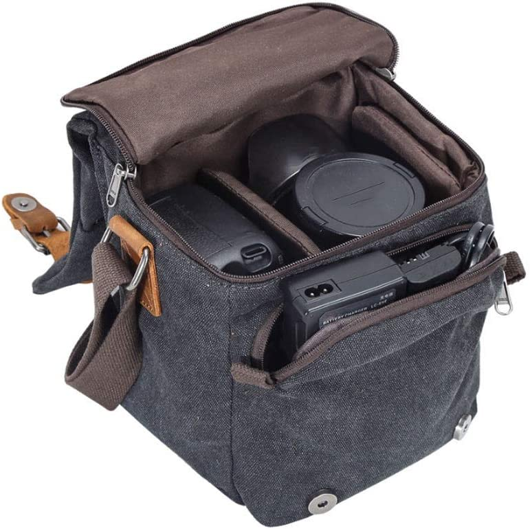 Color : Brown Waterproof Camera Bag Shoulder Camera Bag Canvas Leather Trim DSLR SLR Camera Messenger Bag