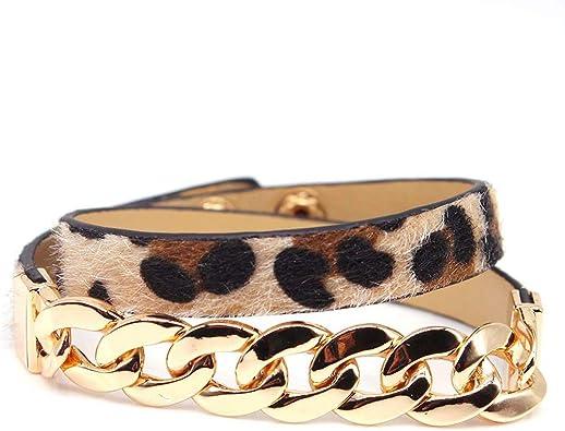 Erticvtiu Handmade Horse Hair Leather Leopard Bracelet Belt Buckle Bangles Women Jewelry