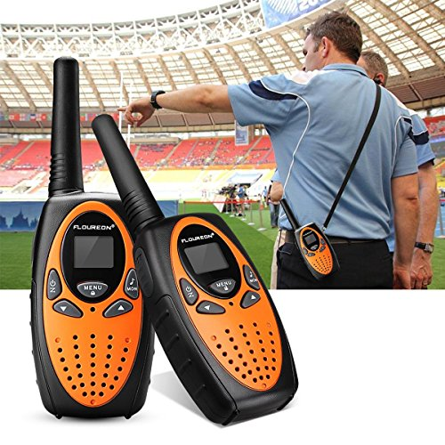 FLOUREON 4 Packs Walkie Talkies Two Way Radios 22 Channel 3000M (MAX 5000M open field) UHF Long Range Handheld Talkies Talky (Orange) by floureon (Image #8)