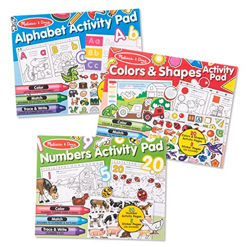 Melissa & Doug Sticker and Coloring Activity Pad 3-Pack – Alphabet, Numbers, Colors and ()