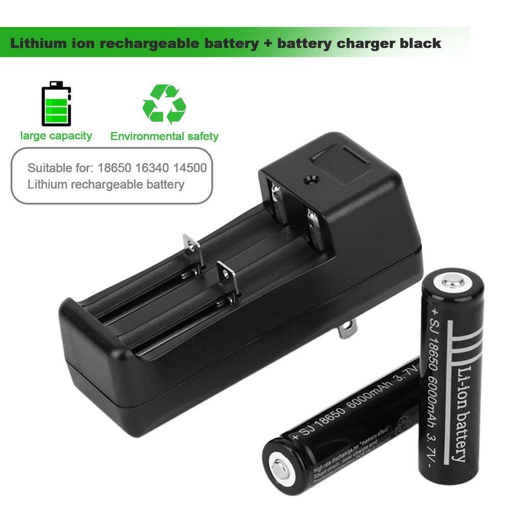 Kingsea 2pcs 18650 6000mAh 3.7V Li-ion Rechargeable Batteries + Battery Charger Black