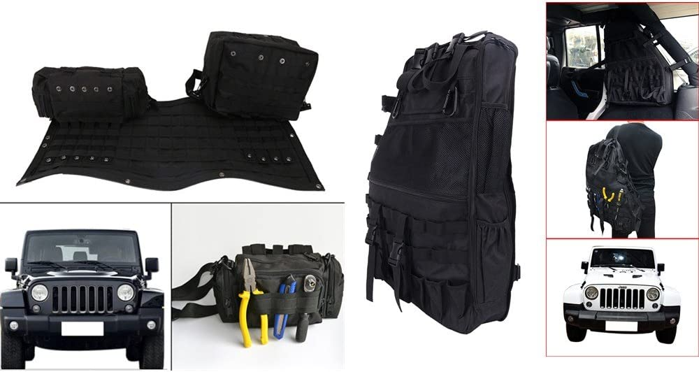 Cargo Cage with Multi-Pockets Saddle Bag for Jeep Wrangler Jk ACHICOO 2PCS Roll Storage Bag
