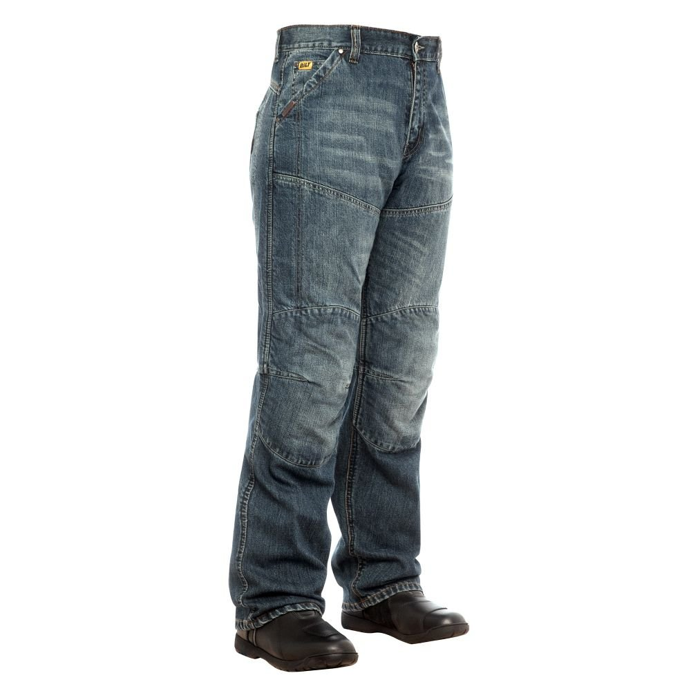 BILT IRON WORKERS Steel Motorcycle Jeans - 38, Distressed Denim