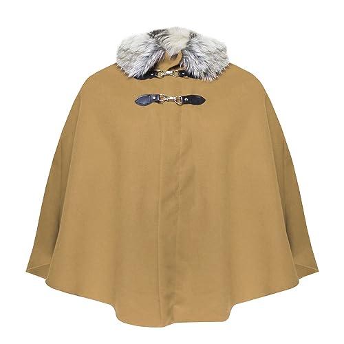 Capa de piel sintética con cuello, poncho para mujer, abrigo, ropa de exterior, talla única.