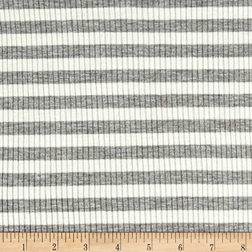 (Lavitex 4X2 Rib Knit Medium Stripe Fabric, Heather Gray/Ivory, Fabric by the yard)