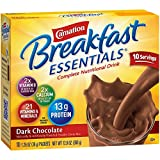 Carnation Breakfast Essentials Powder Drink Mix, Dark Chocolate, 10 Count Box of 1.26 oz Packets, 6 Pack