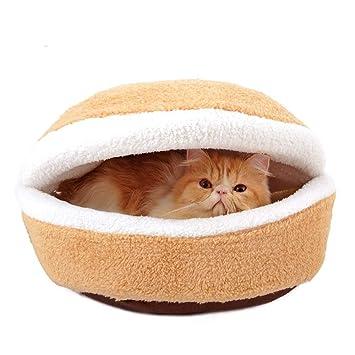 DYEWD Casa del Gato de algodón Shu, Cama para Gatos Hamburguesa,Nido ...