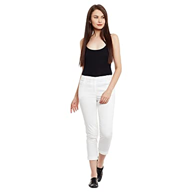 Label RITU KUMAR White Calf-Length Straight Fit Pants
