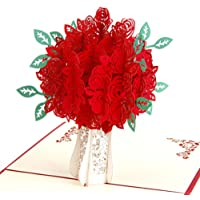 Creative 3D Greeting Card Handmade Paper Carved Hollow Birthday Thanksgiving Rose