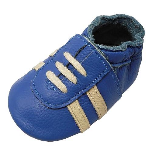 new style 39b05 a806d YIHAKIDS Weicher Leder Lauflernschuhe Krabbelschuhe Babyhausschuhe  Turnschuh Sneakers mit Wildledersohlen