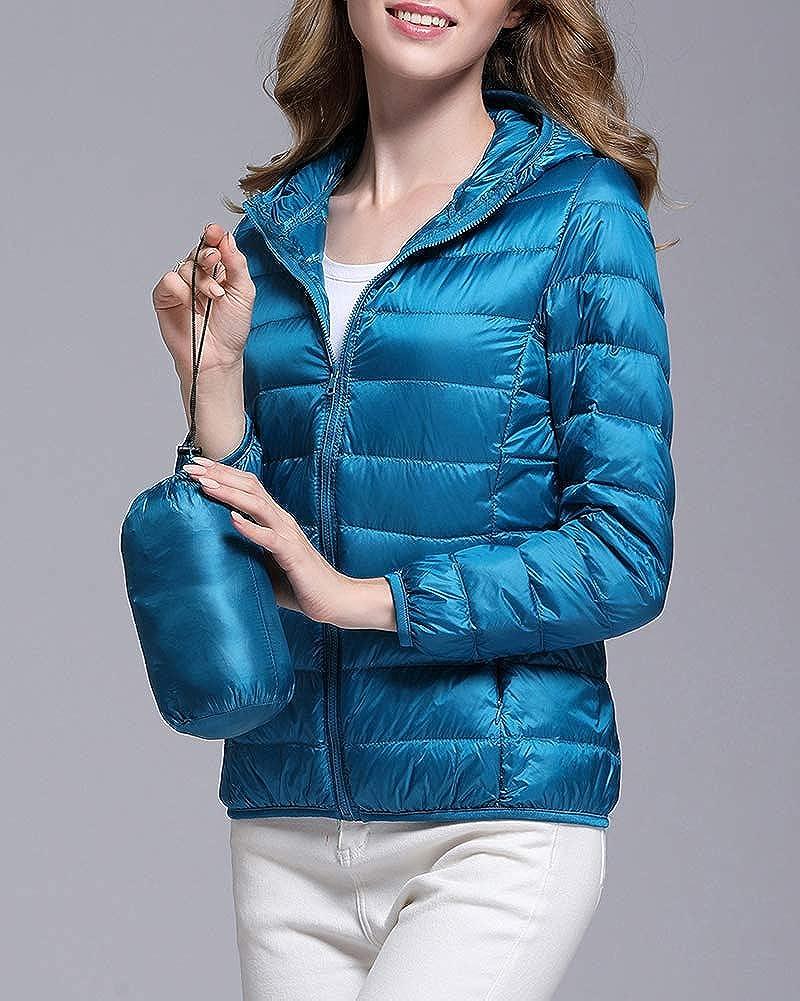 ZhuiKunA Giacche Duck Piumino Donna Ultraleggeri Cappotto Trapuntato Packable Giacca con Cappuccio