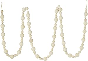 RAZ Imports 6 Foot Wooden Bead Garland - Holiday Garland Decoration