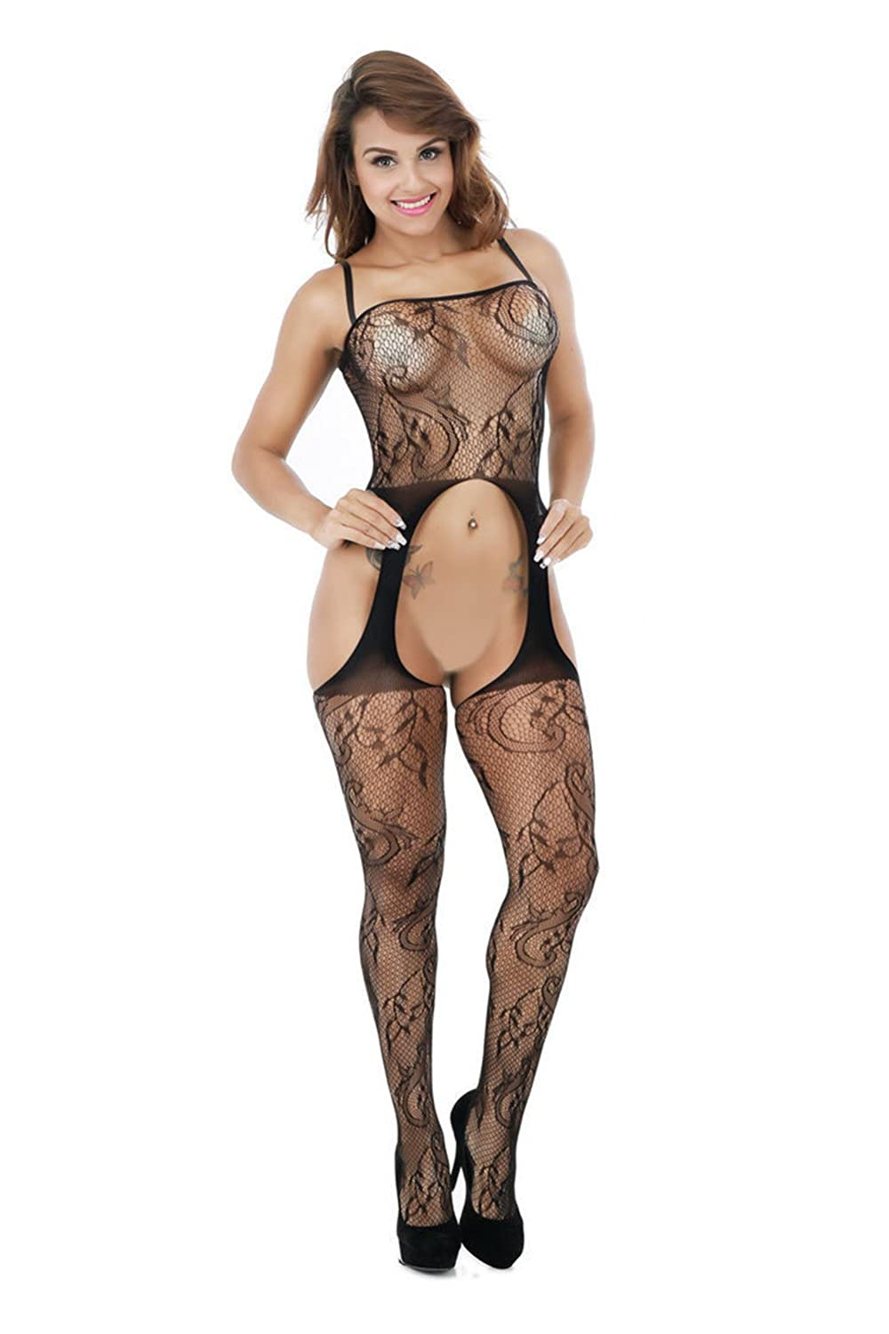 4edb89c9515 Amazon.com  ZIUMUDY Womens Stretch Fishnet Bodystocking Open Crotch Bodysuit  Tights Underwear (Black)  Clothing
