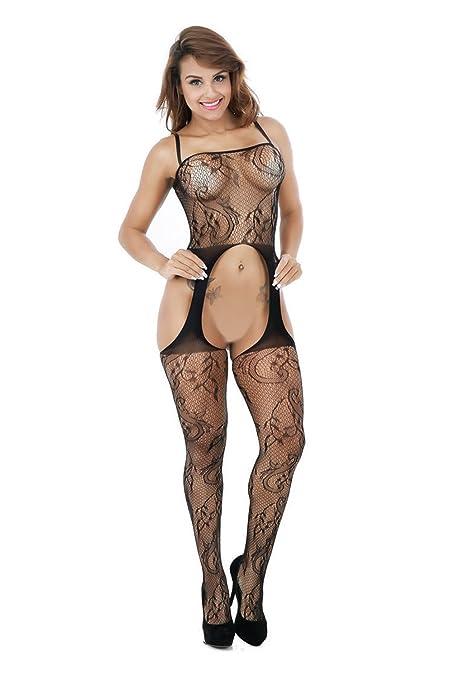 027c47798a ZIUMUDY Womens Stretch Fishnet Bodystocking Open Crotch Bodysuit Tights  Underwear (Black)  Amazon.ca  Clothing   Accessories