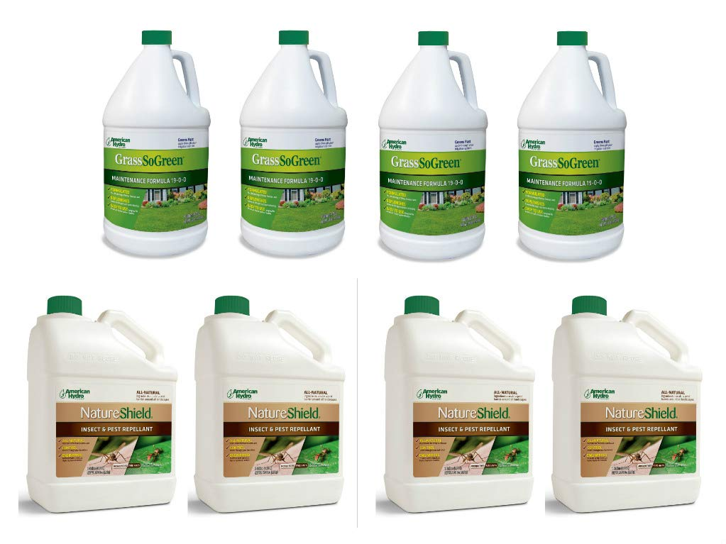 Pro Products Pack NatureShield Insect Pest Repellant and GrassSoGreen Liquid Fertilizer, 8 Bottles Total by Pro Products