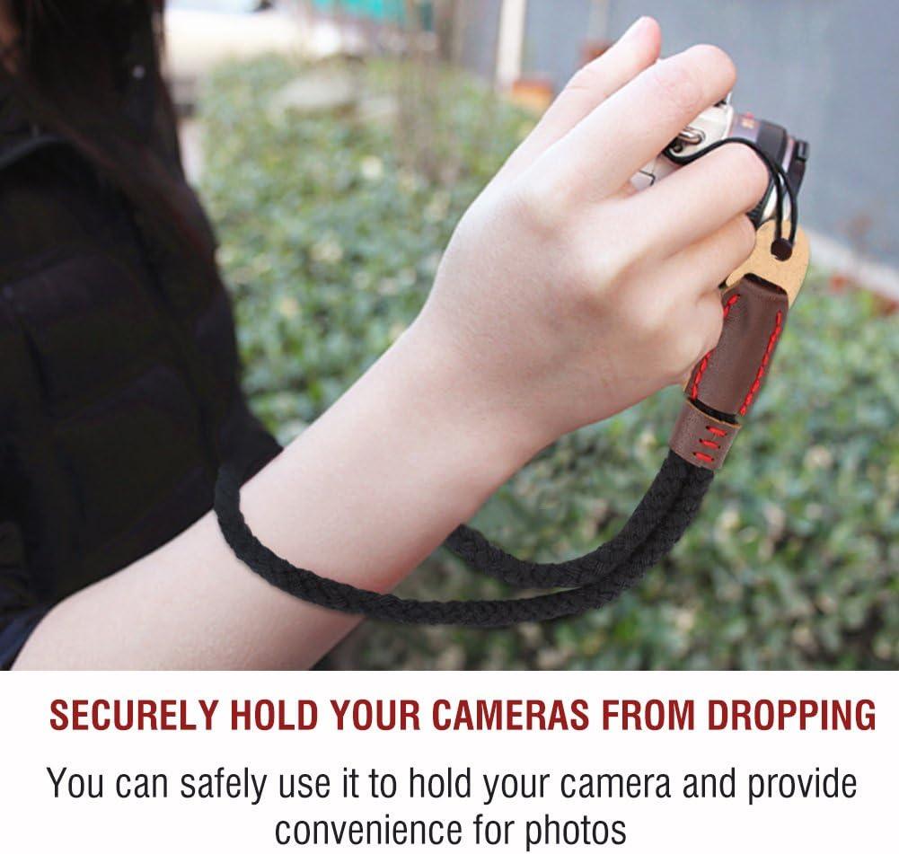 Soft Cotton Camera Hand Wrist Strap with Black Braided Design V BESTLIFE 24cm//9inch Camera Wrist Strap