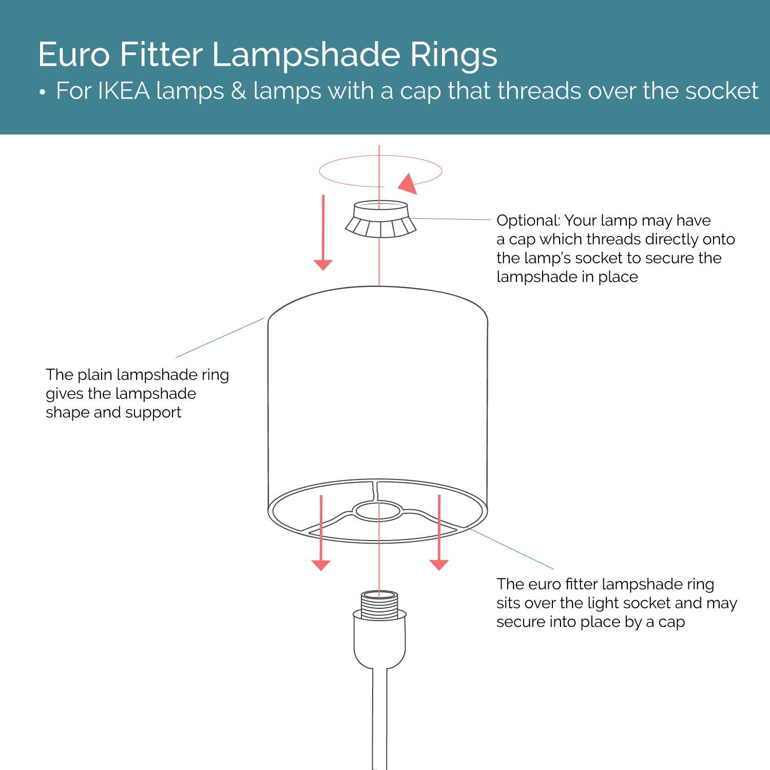 wire lamp shade rings with european fitter: make your own diy lampshade (8  inches diameter) - - amazon com