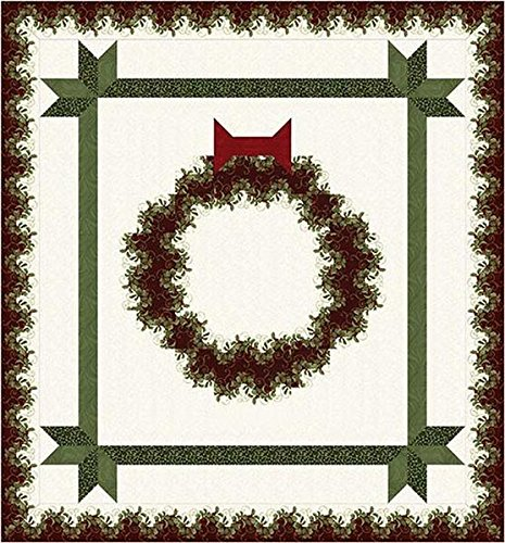 Festive Wreath Gold Metallic Holiday Quilt Kit by The kit
