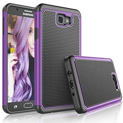 Galaxy J7 Sky Pro Case, Galaxy J7 V/J7V/J7 Perx Sturdy Case, Tekcoo [Tmajor] Shock Absorbing [Purple] Rubber Plastic Scratch Resistant Defender Bumper Rugged Hard Cover Cases For Samsung J7 - Mall Mobile International T