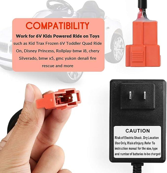 6 Volt Battery Charger for Kid Trax Disney Princesse Toddler Quad ...