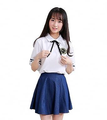 mewow womens high school girls student uniform cosplay halloween costume fancy denim dress
