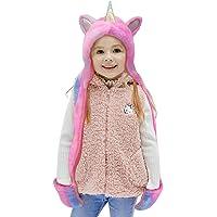 Gifts Treat Bufanda de Sombrero con Capucha para Niñas, Plush Unicorn Winter Hat Para Niños