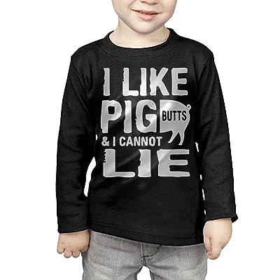 ZheuO Boys & Girls Toddler I Like Pig Butts and I Cannot Lie Soft 100% Cotton T-Shirts Unisex Black