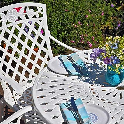 Lazy Susan - Table ronde 90 cm MIA et 2 chaises de jardin - Salon de jardin  en aluminium moulé, Blanc (chaises KATE)