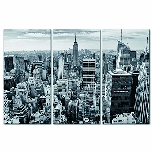 Modern Canvas Painting Wall Art The Picture for Home Decoration New York Skyscraper Manhattan Skyline in Black and White Cityscape Print On Canvas Giclee Artwork for Wall Decor