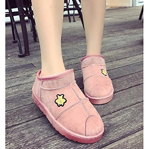 Grey Spring Boots Outdoor for Women's Casual Shoes Coffee Booties Flat Boots ZHZNVX Snow fabric Fall Khaki HSXZ Boots Ankle Lining Polyamide Fluff Pink PAXWUxBq