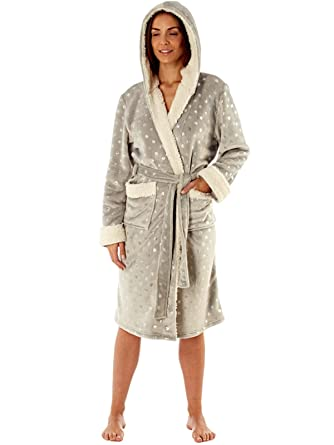 ffcb2b3fa2 Women s Hooded Robe with Sherpa Trim - Navy with Silver Foil All over Star  Print.  Amazon.co.uk  Clothing