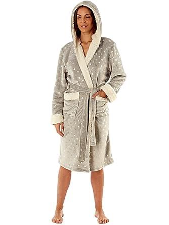 Ladies Glitter Coral Fleece Hooded Dressing Gown LN689 Grey Spot 16 ...